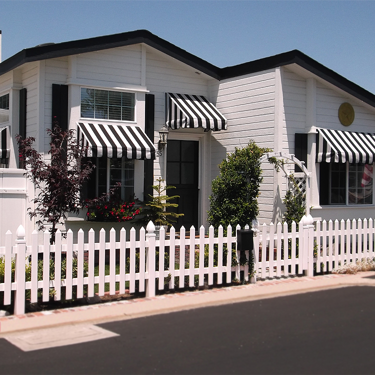 black and white stationary awning